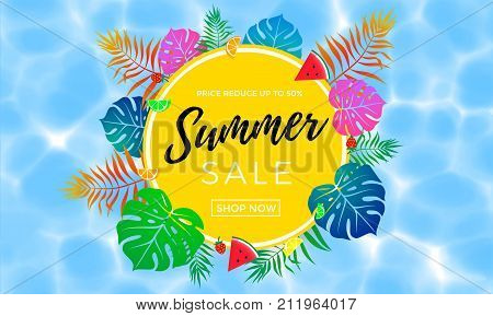 Summer Sale Poster Of Fruit, Berry And Palm Leaf Vector Shopping Banner