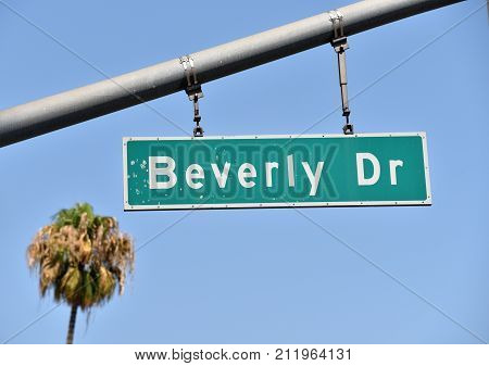 Famous street sign Beverly Drive in Beverly Hills