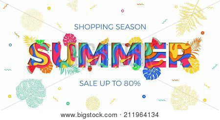 Summer Sale Shopping Discount Vector Palm Leaf Papercut Text Web Banner