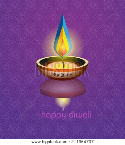 Happy Diwali. Paper Graphic Of Indian Diya Oil Lamp Design. The Festival Of Lights