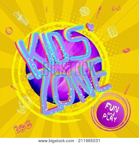Kids Zone Vector Banner In Cartoon Style. Bright And Colorful Illustration For Children's Playroom D