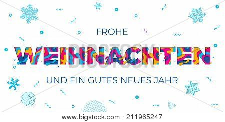 Frohe Weihnachten Merry Christmas German Greeting Card Background Vector Papercut Color Carving