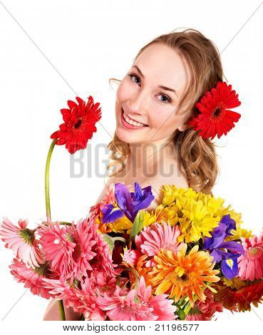 Beautiful  young woman holding  flower. Isolated.
