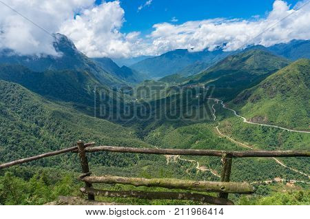 Heaven gate valley nature lookout. Vietnam. Nature background