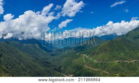 Spectacular Panorama Landscape Of Tropical Mountain Valley