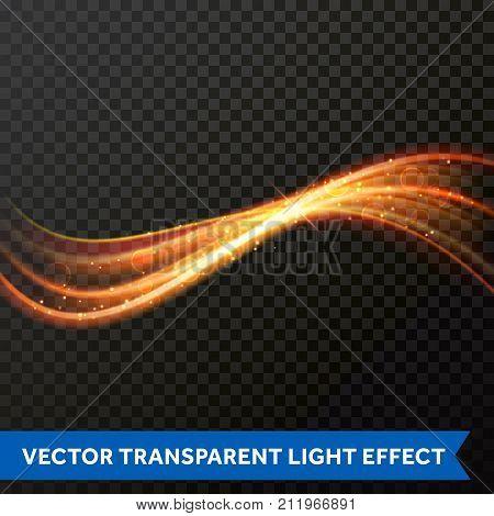 Light Line Gold Swirl Effect. Vector Glitter Light Fire Flare Trace