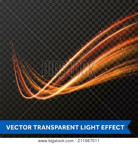 Light Line Gold Swirl Effect. Vector Glitter Light Fire Flare Trace