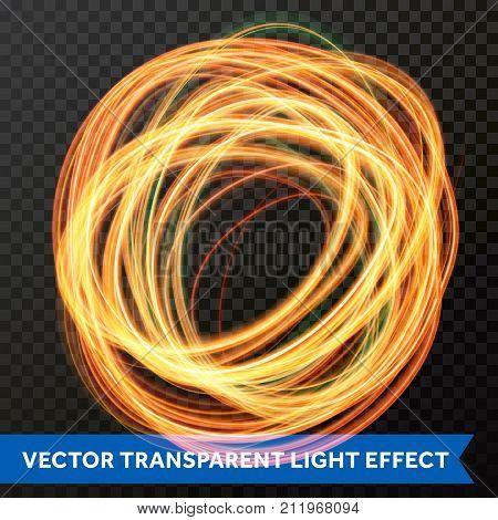 Circle Light Line Gold Swirl Effect. Vector Glitter Light Fire Flare Trace.
