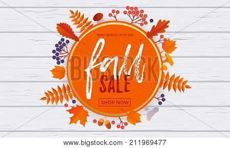 Fall Sale Poster Banner Vector Leaf Pattern Background For Autumn Shopping