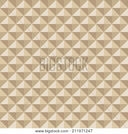 Abstract seamless pattern of triangles and rhombuses. Repeating geometric color tiles. Convex surface. Multifaceted extruded style. Vector structured background.