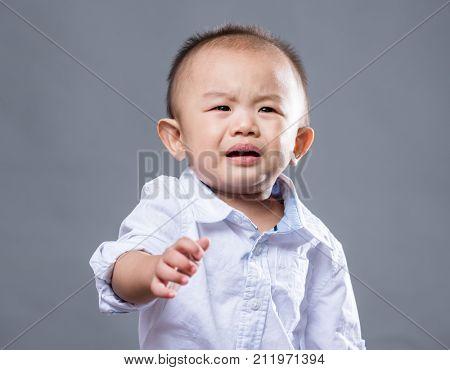 Little boy feeling bad temper