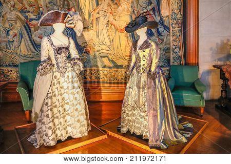 Asheville, North Carolina - March 4, 2017: Biltmore's Costume Exhibition
