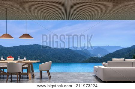 Loft style pool villa living and dining room with mountain view 3d rendering image.The room has polished concrete floorwood lattice ceiling.Looking out to the mountains view.