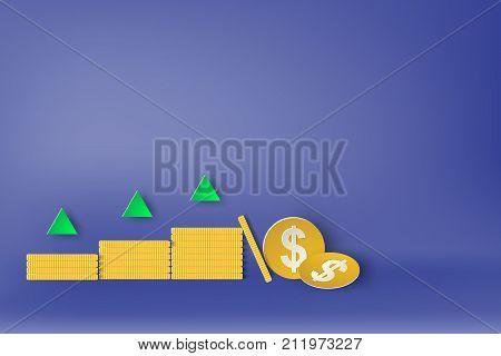 Paper art of strategy with design business concepts arrow dollar sign vector