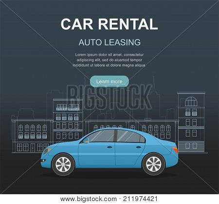 Rental car and Auto leasing banner. Rental concept. Responsive web design. Flat design style concept.