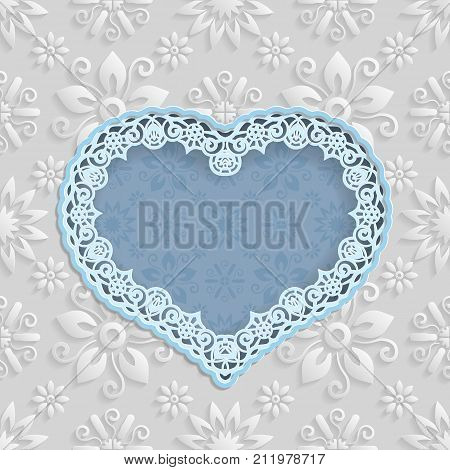 Floral white background and frame in the shape of a heart with an lace border on the edge for greeting card can be used as a template for an invitation to a wedding. Space for text paper cut out vector illustration.