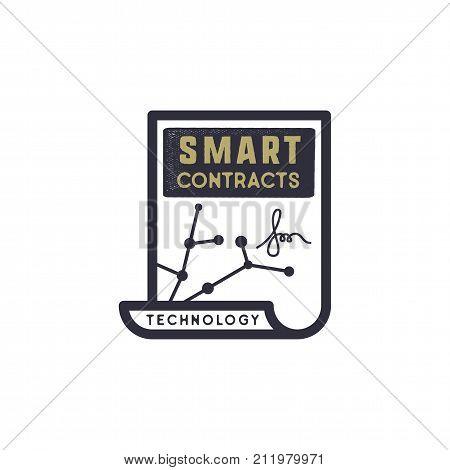 Smart Contract Ethereum based emblem. Blockchain Technology concept. Vintage Hand drawn business logo design. Monochrome logotype. Stock vector illustration isolated.