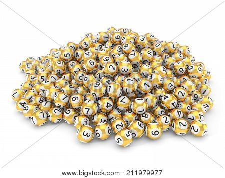 golden lottery balls stack with dept of field effect. 3d illustration. suitable for luck, succes and lottery game themes.