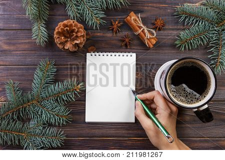 Woman write wishes or to do list in notebook coffee mug Christmas. christmas tree branches pine cones red berries on marble table copy space top view.