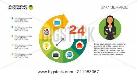Pie chart. Clock diagram, process graph, layout. Creative concept for infographics, presentation, project. Can be used for topics like business, marketing, time management