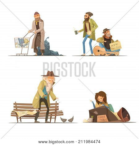 Homeless people compositions with trash elderly person woman at street men working for food isolated vector illustration