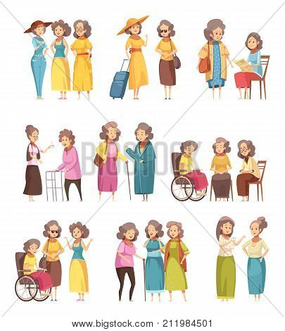Senior women groups retro cartoon icons collection with cane walker in wheelchairand and with trolley vector illustration