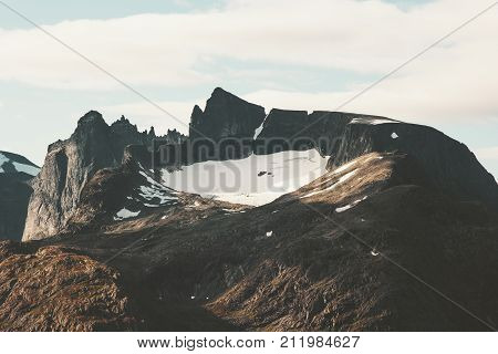 Rocky Mountains Landscape Romsdal Alps in Norway Travel scenery scandinavian nature