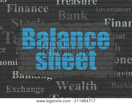 Banking concept: Painted blue text Balance Sheet on Black Brick wall background with  Tag Cloud