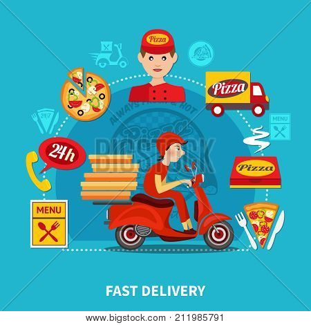 Pizza fast delivery round composition of isolated motorbike and pizza package images with funny human characters vector illustration