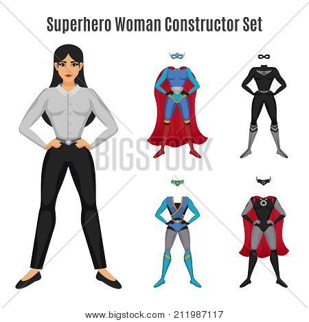 Superhero constructor set with woman in confident pose with serious face and colorful costumes isolated vector illustration poster