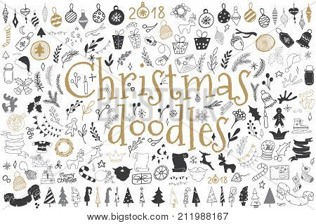 Big set of Christmas design elements in doodle style. Sketchy vector hand drawn cartoon objects and symbols on the New Year theme
