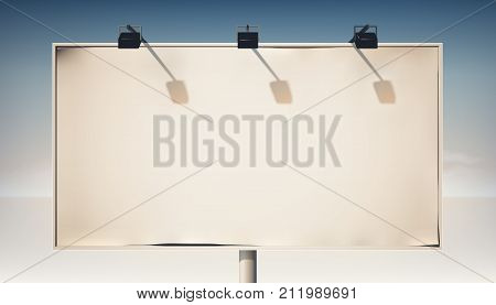 Promotional horizontal billboard on metallic column with blank canvas and spotlights isolated vector illustration