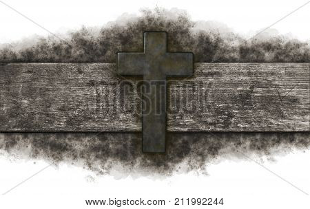 rusty christian cross on old wooden plank