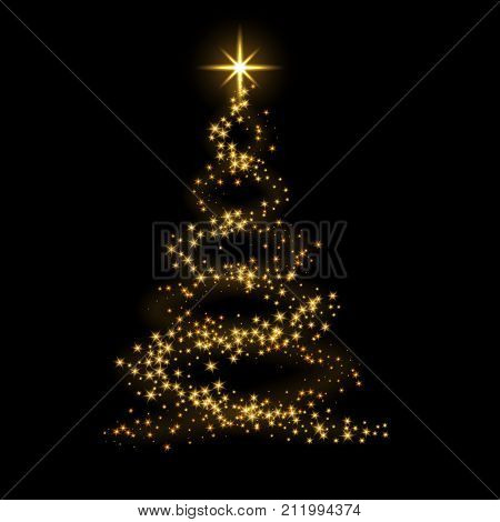 Gold Christmas Tree Happy New Year Background Vector Illustration