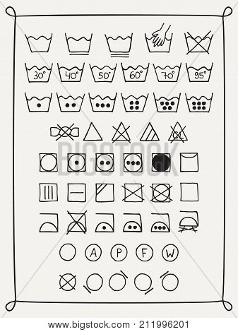 Doodle laundry symbols. Hand drawn scribble washing icons. Clothing and fabric maintenance instructions. Graphic design elements - tumble dry, hand and machine wash, dry cleaning, Vector illustration