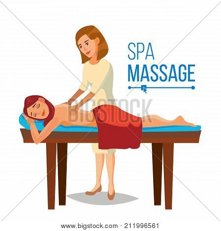 Spa Massage Wellness Salon Vector. Anti Aging Spa Massage. Flat Cartoon Illustration