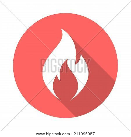 Fire flame circle icon with long shadow. Flat design style. Fire flame simple silhouette. Modern minimalist round icon in stylish colors. Web site page and mobile app design vector element.