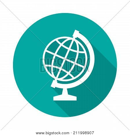 Globe circle icon with long shadow. Flat design style. Globe simple silhouette. Modern minimalist round icon in stylish colors. Web site page and mobile app design vector element.