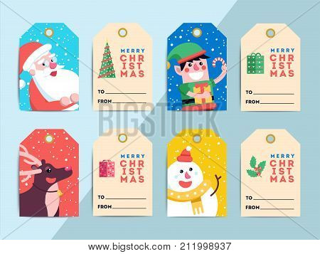 Christmas Gift Tags Template Set. Vector Printable Xmas Box Or Letter Labels Design. Santa, Reindeer