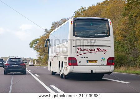 BRAUNSCHWEIG / GERMANY - OCTOBER 29 2017: coach from Paulusma drives on german motorway A2.