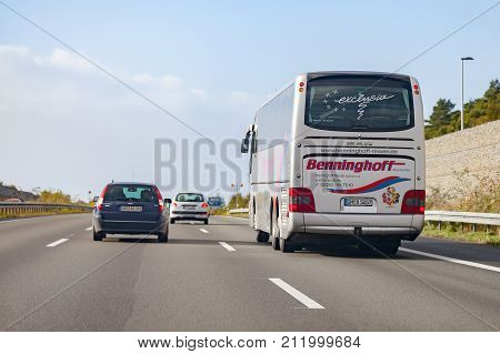 BRAUNSCHWEIG / GERMANY - OCTOBER 29 2017: coach from Benninghoff drives on german motorway A2.