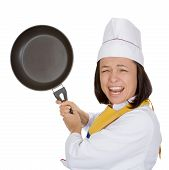 Anger Fury and Rage Young Woman Chef with Frying Pan in Her Hands on a white background poster