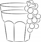 illustration of glass of juice with ripe currant, isolated poster