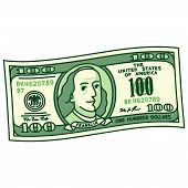 Cartoon stylized 100 dollar bill with caricature Franklin portrait. Money banknote drawing vector illustration. poster