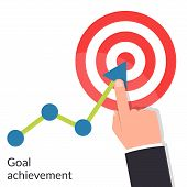 Goal achievement. Path chart to target. Successful way up to goal. Ambition business. Businessman to top graph. Aspiration to victory. Vector illustration flat design. Isolated on white background poster
