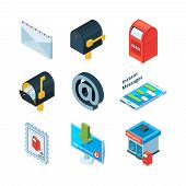 Diffrent postal symbols. Isometric pictures of mailbox, latters and email sign. Mailbox and postbox for mailing, envelope and e-mail. Vector illustration poster