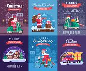 Merry Christmas and Happy New Year greeting cards set with different europe winter holidays backgrounds. Snow house, Santa Claus delivery Xmas gift box and snow scooter delivering presents concepts. poster