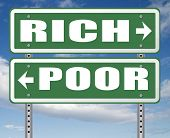 rich or poor take financial risk live in wealth good or bad luck and change fortune wealthy or poverty  road sign arrow 3D, illustration poster