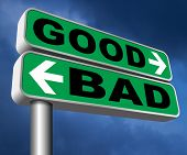 good bad a moral dilemma about values and principles right or wrong evil or honest ethics legal or illegal sign 3D, illustration poster
