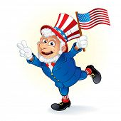 Smiling Cartoon Uncle Sam poster